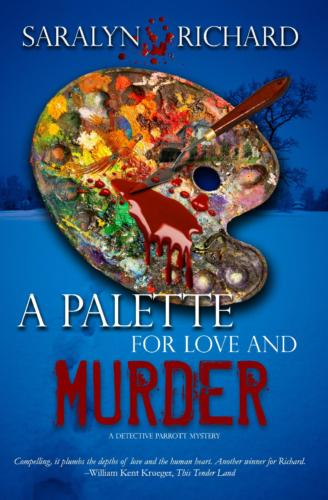 Book Cover, A Palette for Love and Murder by Saralyn Richard. Messy paint palette dripping red.
