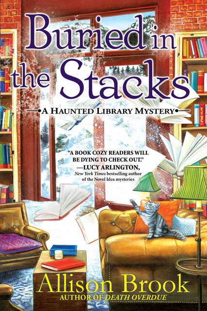 Book Cover. Buried in the Stacks - A Haunted Library Mystery by Allison Brook. Four books flying through the air in a library.