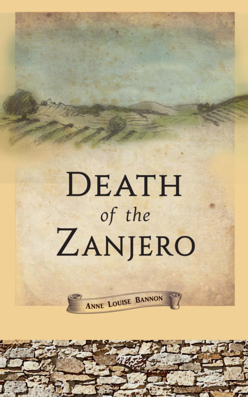 Book Cover. Death of the Zanjero by Anne Louise Bannon. Paining of the countryside with trees and fields.
