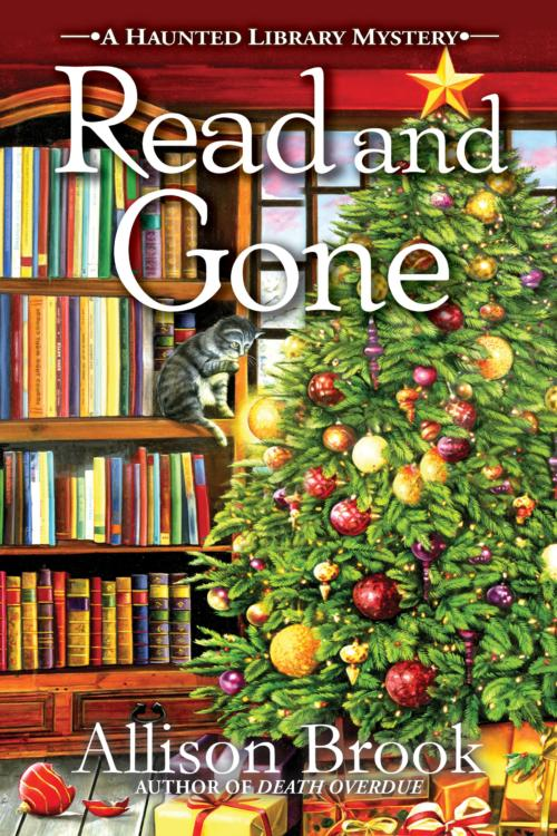 Book Cover. Read and Gone - A Haunted Library Mystery by Allison Brook. Christmas tree in a library with a gray cat on a bookshelf.