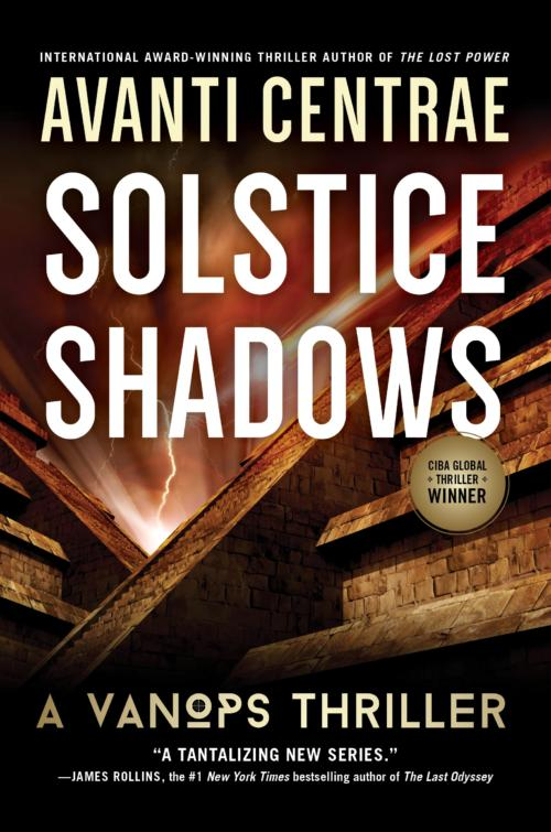 Book Cover. Solstice Shadows - A Vanops Thriller by Avanti Centrae. Large brick pyramid structures under a red sky with lightning.